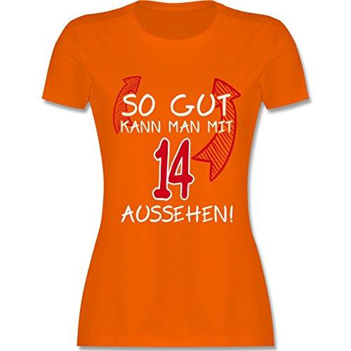 Geburtstag - So gut kann man mit 14 aussehen - tailliertes Premium T-Shirt mit Rundhalsausschnitt für Damen Orange