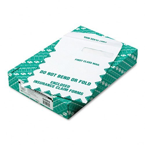 """Quality Park Products - Quality Park - Redi-Seal Insurance Envelope, First Class, Side Seam, 9 x 12 1/2, White, 100/Box - Sold As 1 Box - Designed for Medicare Form #HCFA-1500, Medicaid, and other health insurance claim forms. - Security lining. - Window envelope. by Quality Parkâ""""¢"""