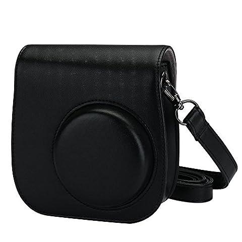 Alohallo Instax Mini 8 / 8+ / 9 Koffer PU Leder Carring Tasche für Fujifilm Instax Mini 8 Instant Film Kamera mit Schulterriemen und Tasche - Schwarz