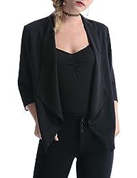 95703ab88c1c Gilet Court Femme Cardigan Basic Blazer Boléro Mousseline Veste de Soiree  Chic Gilet Noir Blanc Femme