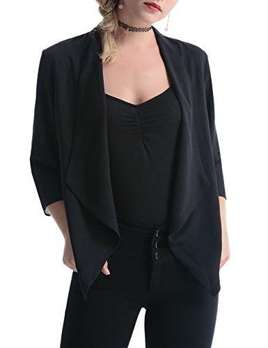 Abollria Damen Chiffon Cardigan Elegant Blazer Leicht Dünn Längere Bolero Farbe:-Schwarz Gr:-S