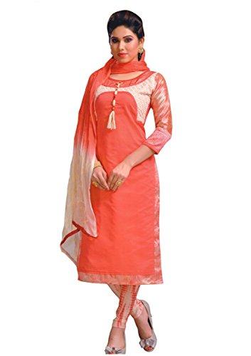Manmandir Chanderi Silk Partywear Salwar Kameez Readymade with Printed Full Sleeves and...