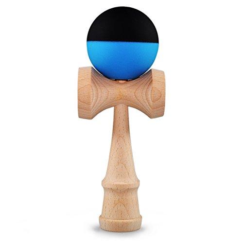 Kendama de madera de haya auténtico, Model 'Mate Blue' el original de Japón, tradicional Madera Juguete, Entrena efectivo acabado de la Habilidad y coordinación, puede, Bola de 6cm de diámetro, acabado de la razón en color azul mate negro, Bola oberflächenlackiert, Juego,–Juego de atrapar habilidad,–Marca Ganzoo