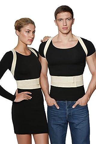 ®BeFit24 Correcteur de posture haut de gamme – Solution instantanée pour la mauvaise posture – Ceinture pour soulager la douleur au dos – Meilleure attelle de soutien pour l'épaule - [ Size 1 - Beige ]