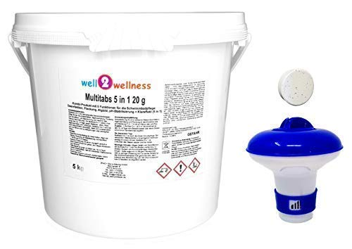 well2wellness Kleine Chlor Multitabs 20g 5 in 1 mit 5 Funktionen, 5,0 kg Plus Dosierer