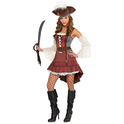 amscan Piratenkostüm für Damen Karneval rot-braun-Weiss L