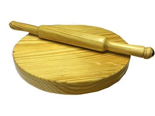NYGT handgemachte hölzerne Runde Polpat-Roti Roller/Chakla-Belan/indische Nudelholz, 9 Zoll (gelb) Tortilla Roti Maker