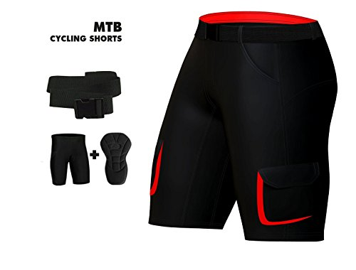 Herren MTB Radhose Gepolsterte Bike Off Road Cycle Abnehmbare Liner free style Shorts mehrfarbig rot / schwarz XXX-Large (Cycle Liner Shorts)