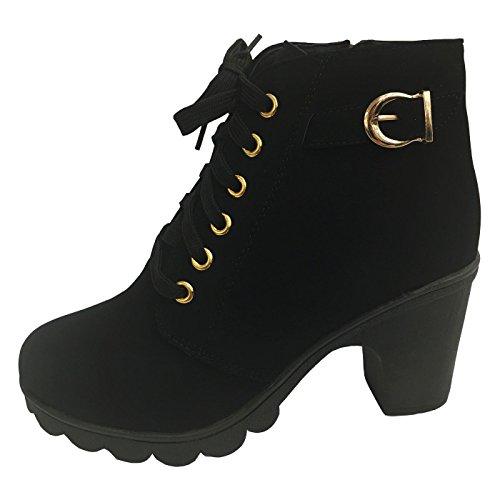 Chnhira Freizeitstiefeletten, mit Blockabsatz und Reißverschluss, dicke Sohle, Schwarz - schwarz - Größe: 39 (Toe Black Boots Square)