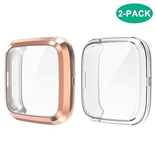 FYOUNG Coque pour Fitbit Versa 2 [2 Pièces], Housse de Protection en TPU Souple Protecteur Case Cover Full Couverture pour Versa 2 - Clair/Or Rose