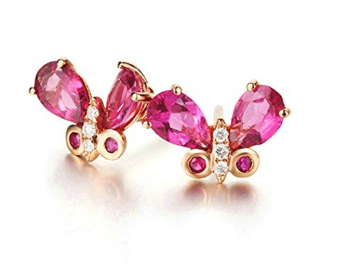 Aooaz Reale 18K Oro Rosa Orecchini Stud Per Donna Diamanti Farfalla Rubino Tormalina Gemma Rosa Rossa Orecchini Matrimonio Anniversario Dimensioni 1.12X0.77 Cm
