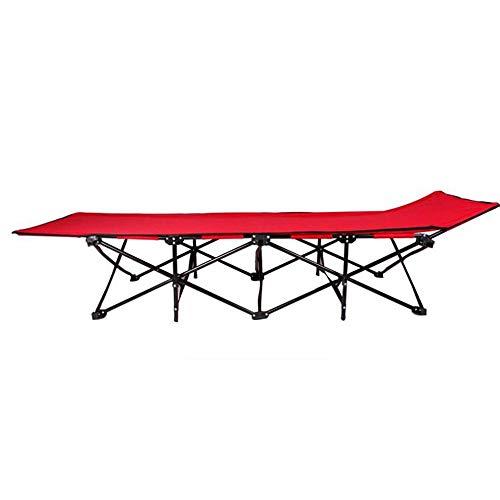 Eeayyygch Campingbett, zusammenklappbar, Rot Faltbares Campingbett mit Tragetasche. Belastbar bis 200 kg, wiegt nur 6 kg. Für Camping, Reisen und zu Hause, klappbar, Siehe Abbildung, Einheitsgröße