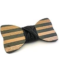 """GIGETTO Papillon in legno Limited Edition """"Dandy"""", con nodo in ecopelle nera, cinturino regolabile"""