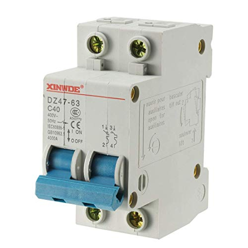 Din Mount Circuit Breaker (ZCHXD 2 Poles 40A 400V Low-voltage Miniature Circuit Breaker Din Rail Mount DZ47-63 C40)