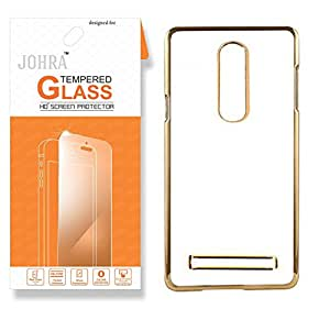 Johra Tempered Glass For Lenovo Vibe K5 Note Premium HD+ Tempered Glass Screen Combo Electroplated Gold Golden Edge Clear Soft Transparent Back Case Cover for Lenovo K5 Note Tempered Glass