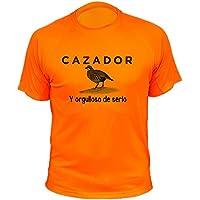 Camisetas de caza, Cazador y orgulloso de serlo, perdiz roja - Ideas regalos (30229, Naranja, 3XL)