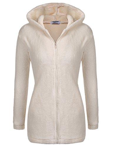 Parabler Damen Fleece Pullover Kapuzenjacke Kapuzenpullover Hoodies mit Bären Ohren Taschen Loose Fit Casual Beige