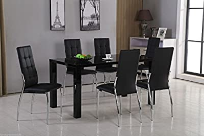 New PIVERO High Gloss Black Dining Table Set and 6 Leather Chairs Seats