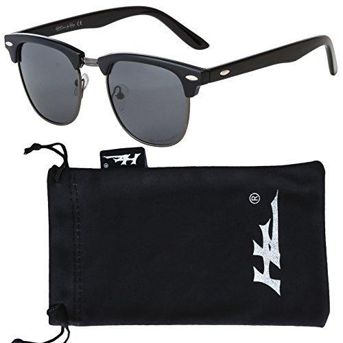 Hornz HZ Serie StratMaster - Premium Polarisierte Sonnenbrille aus hochwertigem Polycarbonat Mitternachtsschwarz Rahmen - Dunkles Rauchobjektiv