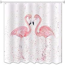 A.Monamour Fondo Blanco Rosa Flamenco Pareja Besando Romántico Amor Corazón Impresión Impermeable Poliéster Molde