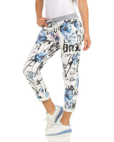ZARMEXX Damen Sweatpants Baggy Boyfriend Sommerhose Sport All-Over Print One Size Muster 7 One Size (36-40)