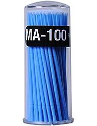 Greencolourful 100pcs Jetable Swab Sp¨¦cial pour Appliquer de la Colle Extension Cils Jetable Cils Extension Micro Brush(Bleu)