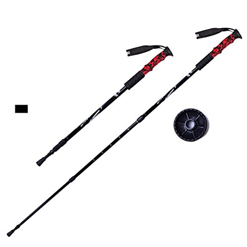 Onezi Upgrade Version Piano Paint Aviation Aluminum Trekkingstock Gehstock Alpen stocks Inter Locking Trekking Pole Anti-Schock-System Telescopic Poles for Trekking und Wanderungen Bergsteigen Einstel black£¨2 stick£©