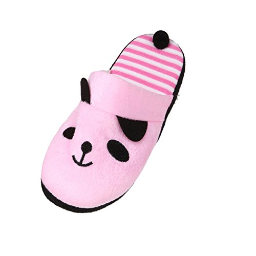 Belle Cartoon Panda Home sol chaussons, doux Stripe Femme Chaussures (EU SIZE:38, Rose)