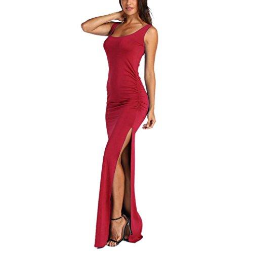 Robes de Split, Internet Femmes Sexy Courte Manches Robes Boho Longue d'été avec Poche (L, Rouge A)