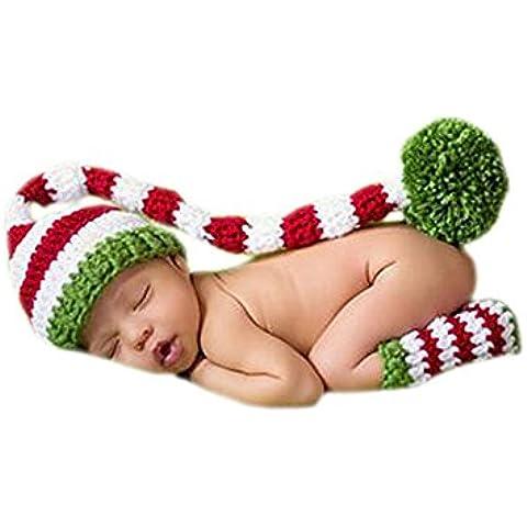 DELEY Bebé Crochet Tejer Navidad Elf Largas Colas Pompón Sombrero de Disfraz Infantil Ropa Photo Props de 0-6