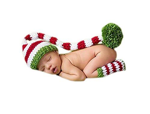 DELEY Baby Crochet Maglia Elfo di Natale una Lunga Coda pon pon Cappello Costume Bambino (Natale Puntelli Photo)