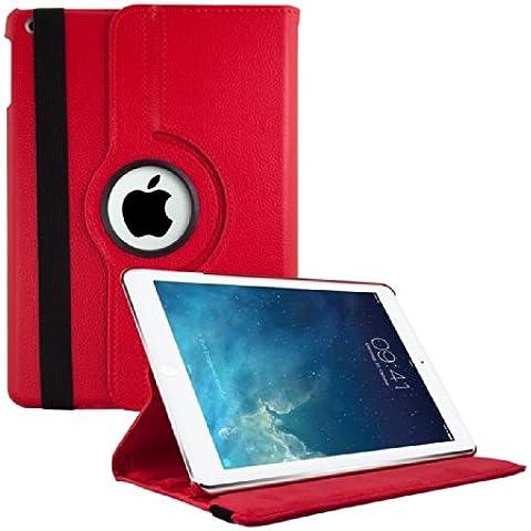 kwmobile Funda 360° para Apple iPad Air Carcasa con pie de soporte - Funda protectora para tablet bolso con función de soporte en rojo