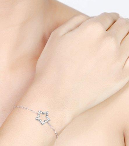 Or Blanc 9 ct Bracelet Diamant en forme d'étoile, 0.08 Ct Diamant, GH-SI, 1.05 grammes.