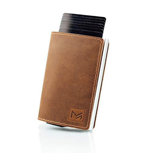 MAGATI Slim Wallet - Kreditkartenetui aus Echt-Leder mit Magnetverschluss, Fund-Service, Geldscheinklammer und RFID-Schutzfunktion Dunkelbraun