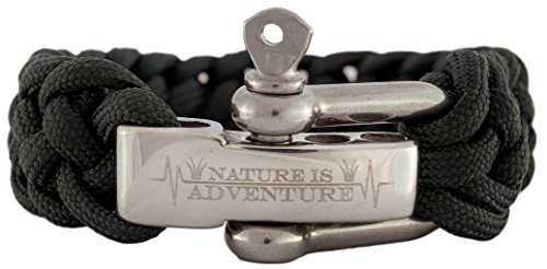 Nature is Adventure Paracord Survival Armband inkl. Ebook - verstellbarer Edelstahlverschluss - Ideales Outdoor, Backpacking & Überlebens-Zubehör