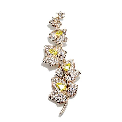 QZQWANAL Zweig Blätter Broschen Kupfer Zirkon Ahorn Brosche für Frauen Männer Mädchen Pflanze Pins Kleid Anzug Schal Zubehör -