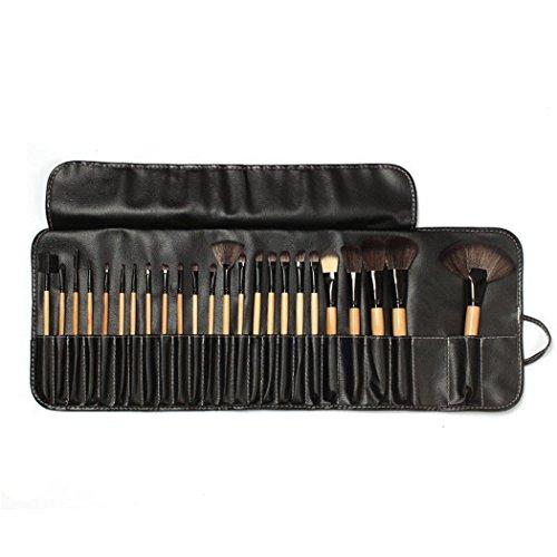 Susenstone 24PCs Bois Maquillage Pinceaux Cosmétique Maquillage Set Kit Pouch Bag