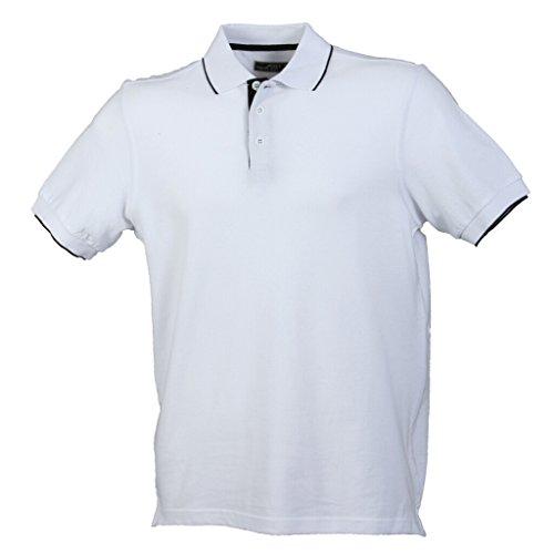 JAMES & NICHOLSON Elegantes Poloshirt mit Kontraststreifen White/Black