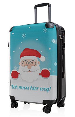 """HAUPTSTADTKOFFER® · Hartschalenkoffer Koffer Trolley Reisekoffer Hartschale · Serie """"Style"""" (Eule Strand Sonnenschirm) Santa Claus Blau"""