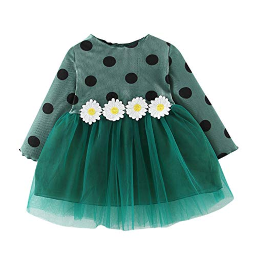 Sonnena Kinder Langarm Sonnenblume Drucken Patchwork Kostüm Top Set Baby Kleidung Set Kleinkind Kinder Baby Mädchen Party Dot Tulle Dress Print Langarm Ballkleid - Säuglings Anna Kostüm