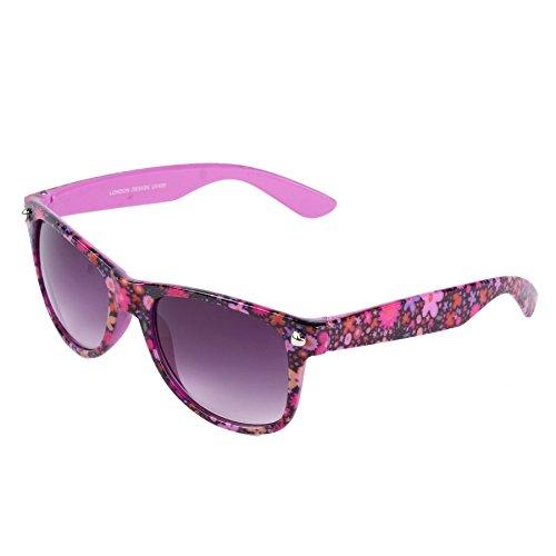 Hornbrille 50er Jahre Stil Sonnenbrille Mit Blumenmuster (Lila)