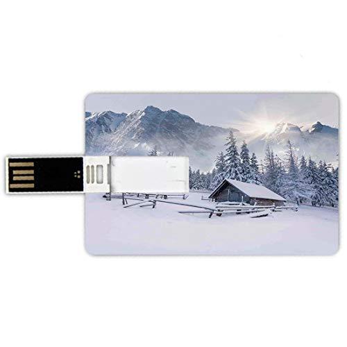 64gb chiavette usb a forma di carta di credito appartamento decor memory card stile carta di credito vecchia fattoria di montagna nella stagione invernale tempi freddi in foto di scena di natura rural