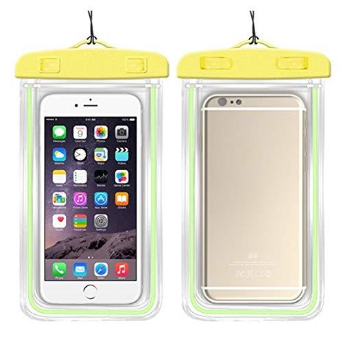 wasserdichte Handytasche Touch Fluorescent wasserdichte Handytaschen for iPhone 6S Coque Pouch Swim Handytasche Tauchen Aufbewahrungstasche Tasche Dry Cover Case (Color : Yellow, Material : PVC)