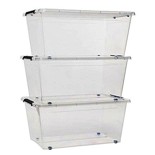 esto24 3er Set Aufbewahrungsbox mit Deckel und Rollen Größe: 60 Liter Ideal für Büro, Kinderzimmer, Küche & Werkstatt