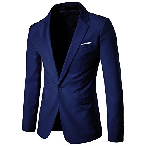 HerZii Herrenmode Slim Fit 3-teilige Business Suit Blazer Jacke & Hose Navy