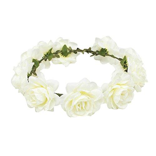 TININNA Diadema guirnalda de flor,Elegante Floral corona guirnalda para fiesta de boda Featival-Blanco