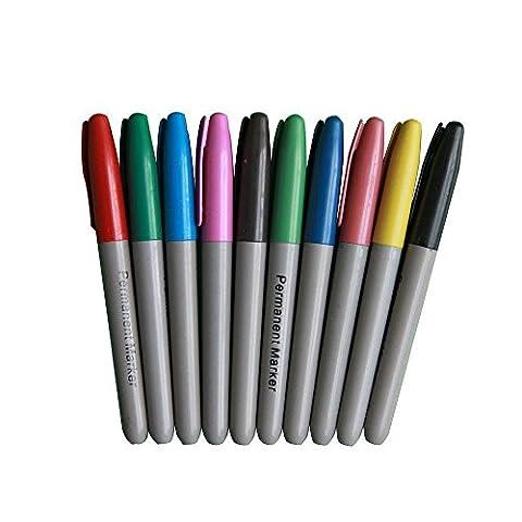 Ardisle Ceinture anti-cellulite 10x couleurs assorties pointe fine marqueurs permanents pointe ogive Assortiment de couleur