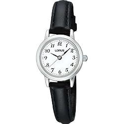 Lorus RG295HX9 Ladies Black Leather Strap White Dial Watch
