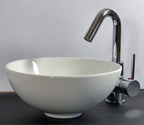 Kleines Keramik Aufsatz Waschbecken rund 28cm Gäste-Bad