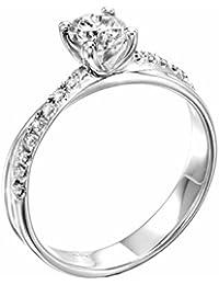 EGL Zertifikat Klassischer 18 Karat (750) Weißgold Damen - Diamant Ring Round 0.80 Karat F-VS2 (Ringgröße 48-63)